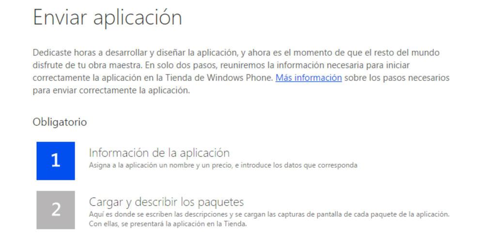 Enviar aplicación de Windows Phone