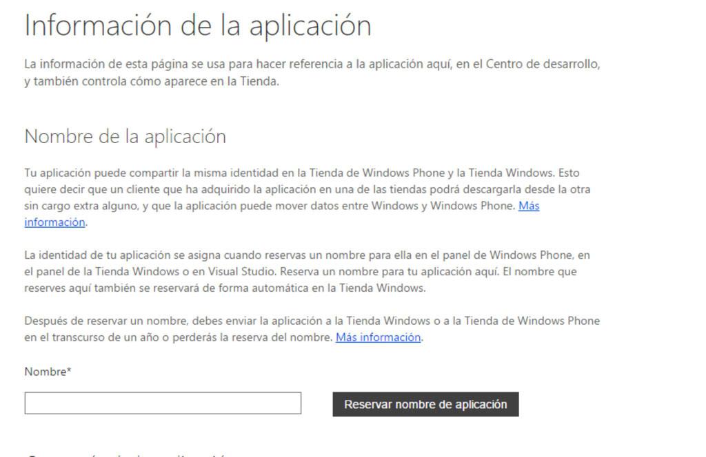 Información de la aplicación
