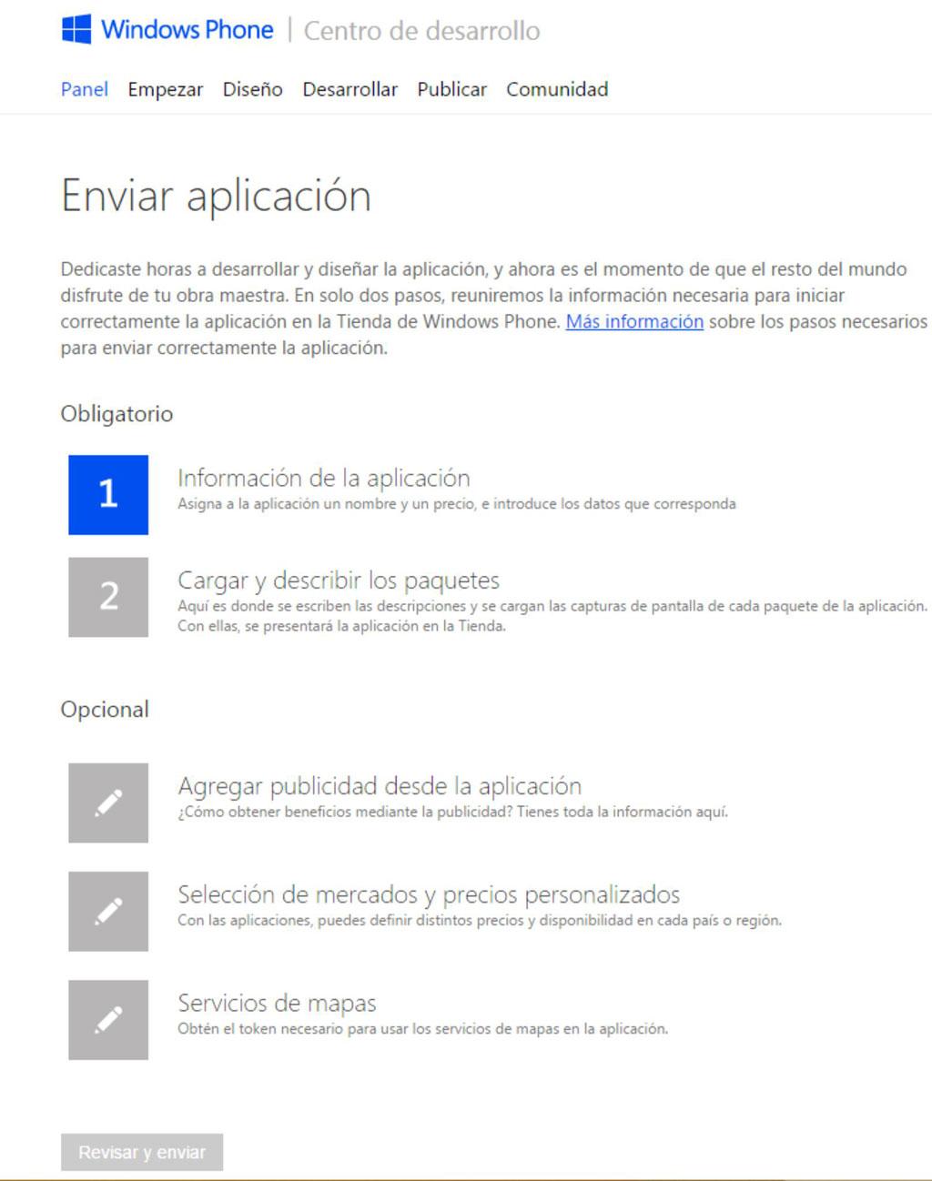 Enviar aplicación