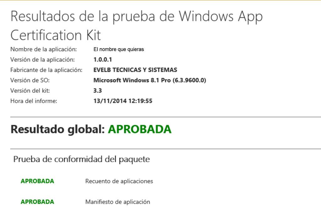 Resultados de la prueba de Windows App Certification Kit 2
