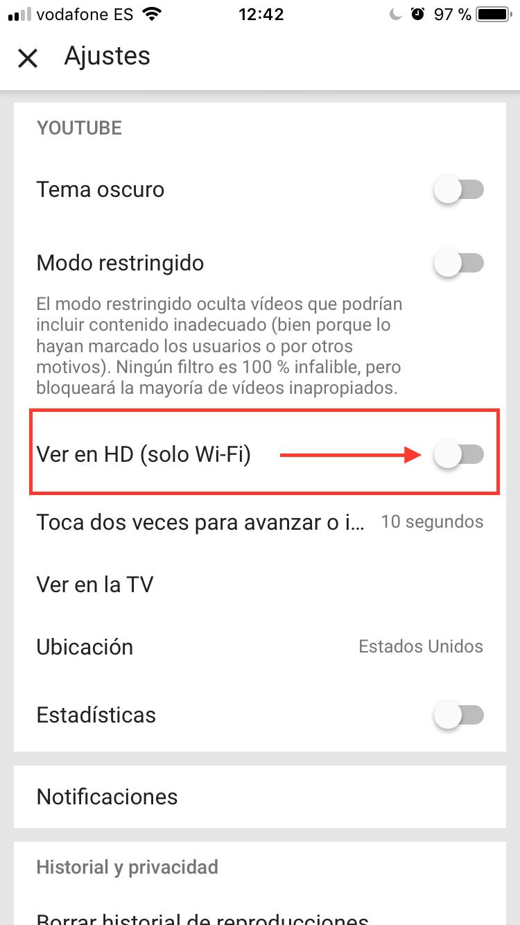 Cómo ahorrar datos en YouTube paso 3